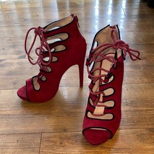 Glaze red and black suede lace up heels!